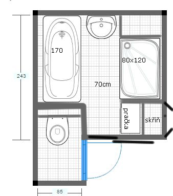 Mala panelakova koupelna - navrh 11.