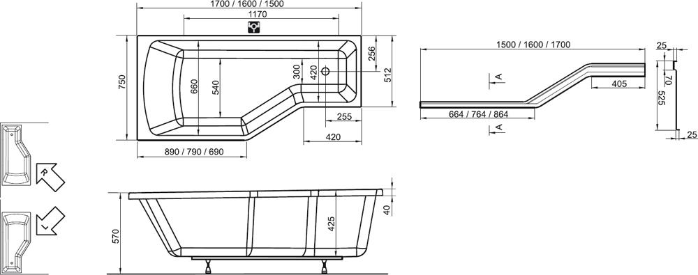 Mala panelakova koupelna - vana ravak be happy 160cm