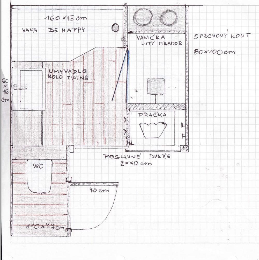 Mala panelakova koupelna - finální návrh nové koupelny