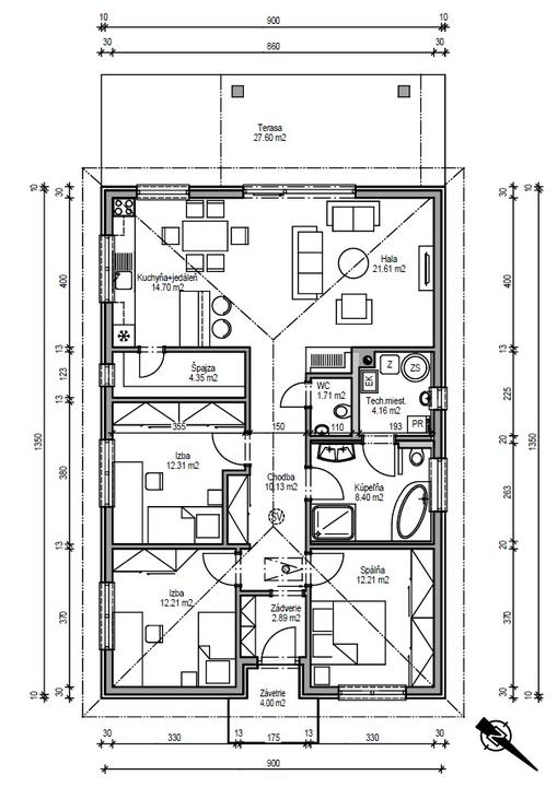 Půdorysy, domy - @mimusss puvodni navrh