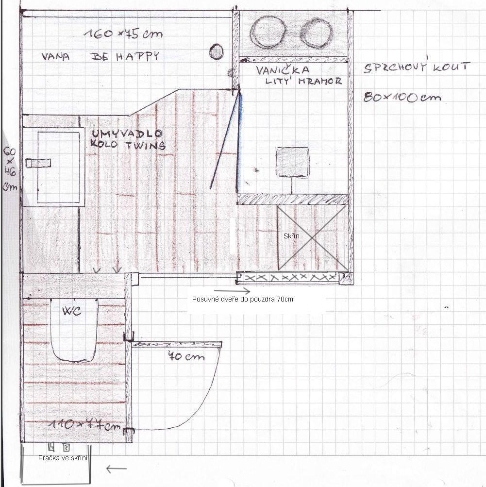 Mala panelakova koupelna - jeste upraveno, pracka nakonec pujde skrine, dvere do koupelny budou do pouzdra