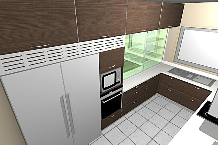 Obývací pokoj, jídelna a kuchyň realita - ta skrínka, která je pruhledná zelená, tak bude ta svítivá zelená