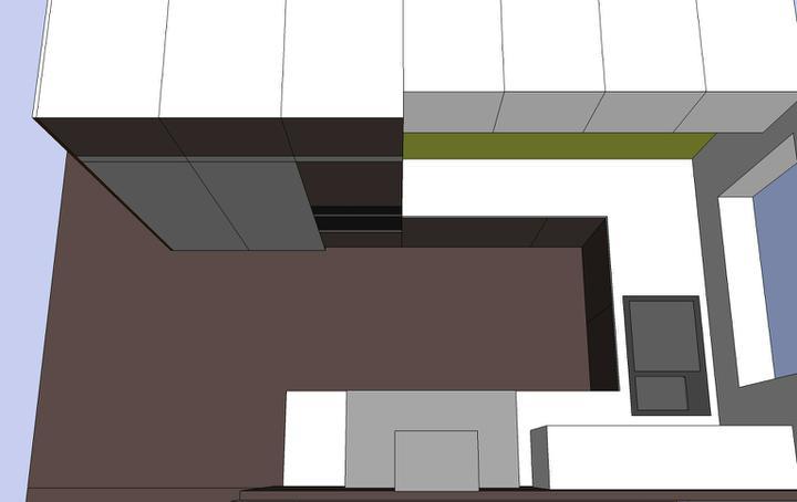 Obývací pokoj, jídelna a kuchyň realita - finální pohledy na kuchyn