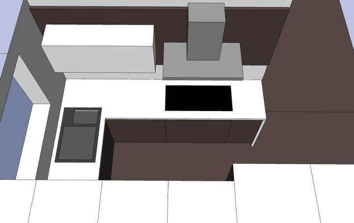 Obývací pokoj, jídelna a kuchyň realita - varnou desku jsem posunula od okna, abych měla dostatek pracovní plochyn mezi drezem a deskou - nyní je tam 80cm