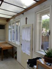 původní kuchyně se skleněným stropem