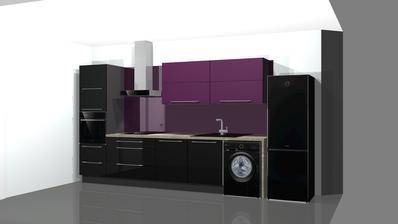 kuchyně která je už ve výrobě..Gorenje kuchyně i spotřebiče, nebude tak šedá, vzadu na ploše bude mléčné sklo a stěny nebudou šedé ale bílé:)