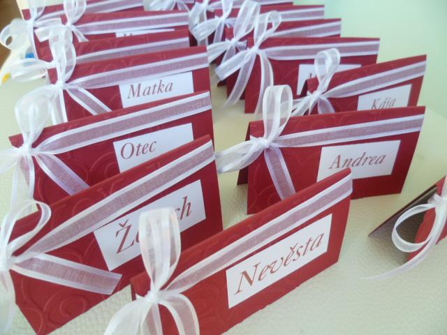Dekorace na svatební den-zakázková tvorba - jmenovky na svatební stůl