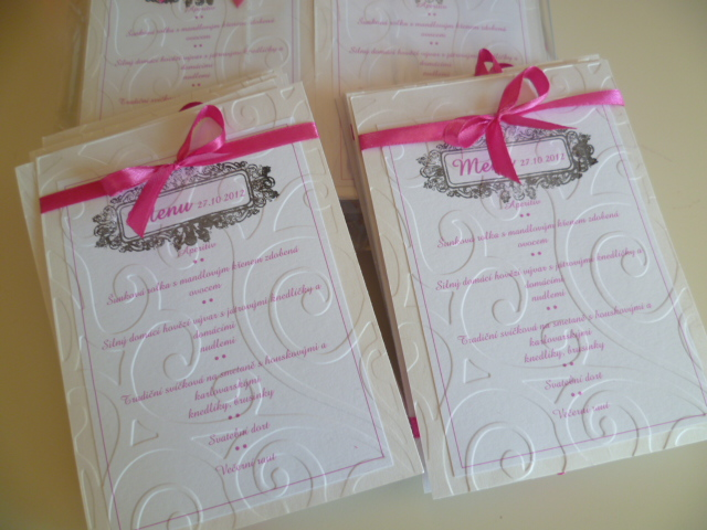 Dekorace na svatební den-zakázková tvorba - menu pro suki