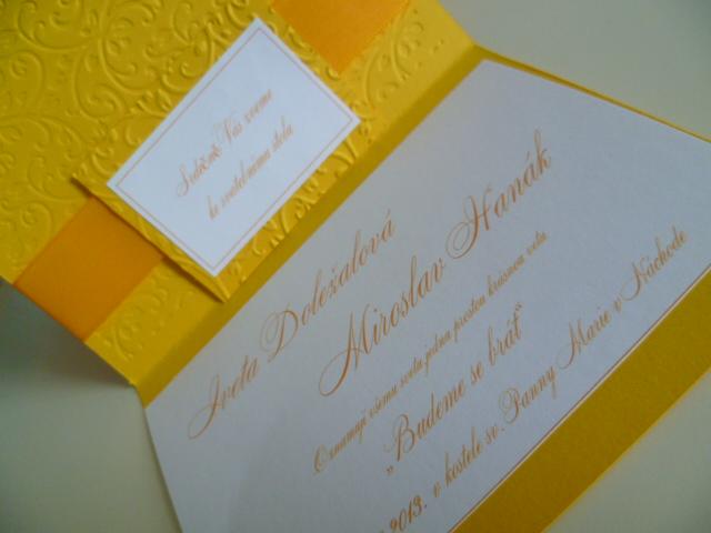 Dekorace na svatební den - slunečnicová svatba ažlutá svatba - svatební oznámení 32kč