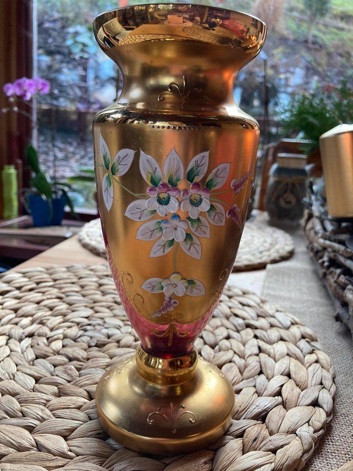 váza bordovo-zlatá ručne maľovaná - Obrázok č. 1
