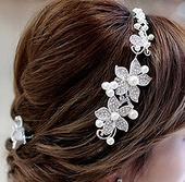 Vlasová ozdoba zo stireborných kvetov a perličiek,