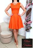 Tehlovo-oranžové šaty, S