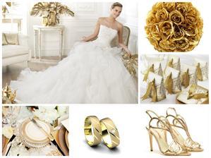Svatba se zlatými doplňky - krásné svatební šaty Pronovias a snubní prsteny ze žlutého zlata Aiola z kolekce Aura.