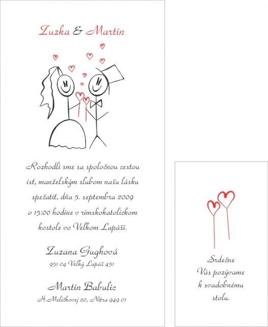 Zuzka & Maťko 5.9.2009 - naše oznámenie