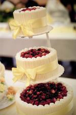 Vevnitř jovo dort, kolem trubičky z bílé čokolády, nahoře lesní ovoce - byl vynikající!