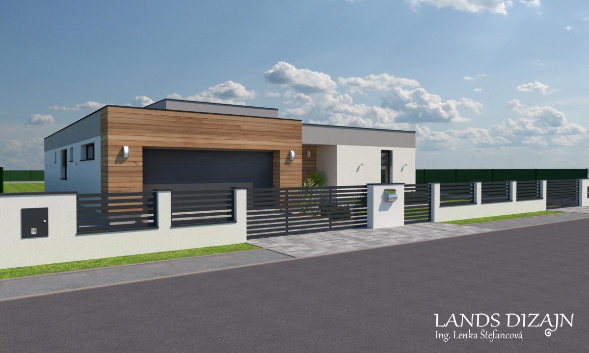 landsdizajn - Moderná fasáda domu a návrh oplotenia.