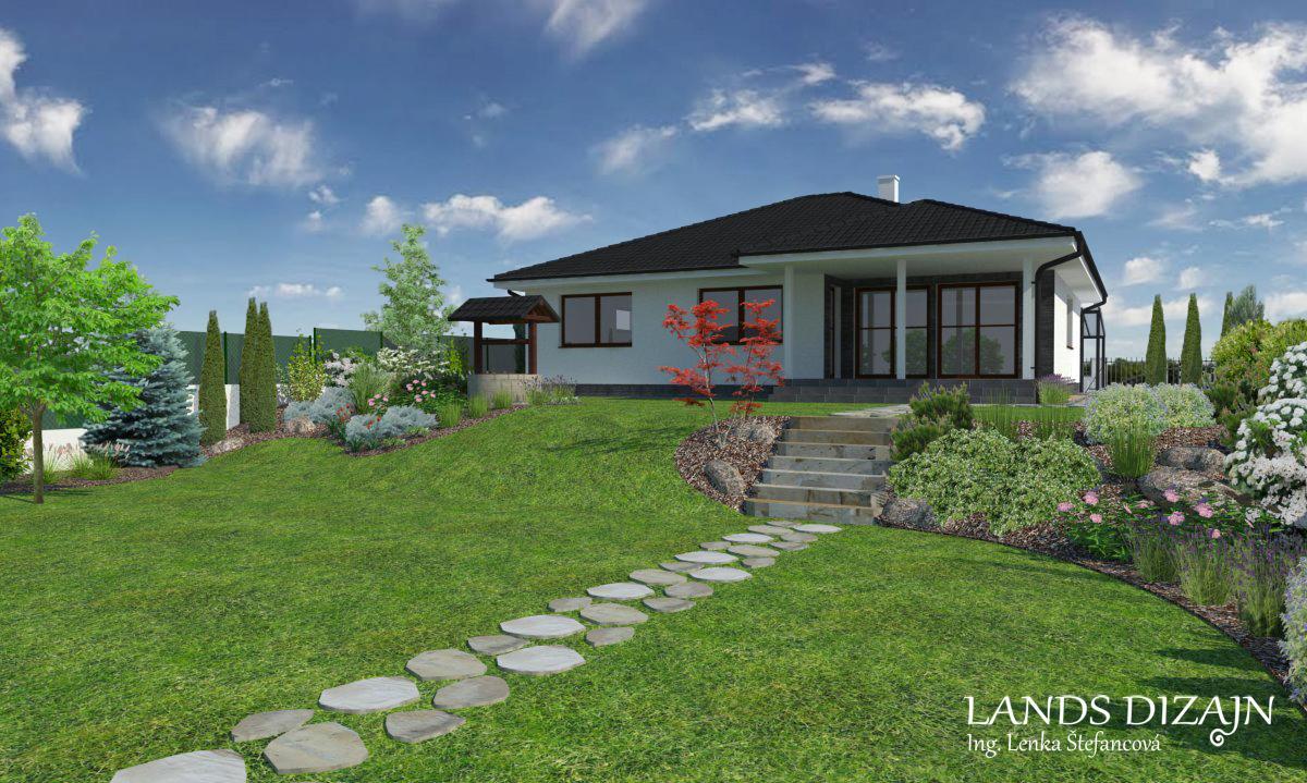 landsdizajn - Záhrada vo svahu s výsadbou okrasných rastlín.