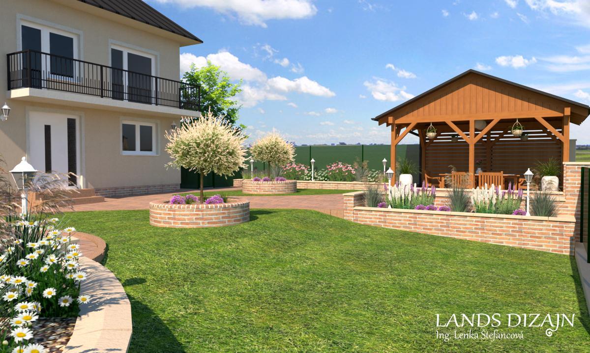 landsdizajn - Romantický návrh záhrady s použitím tehlového obkladu.
