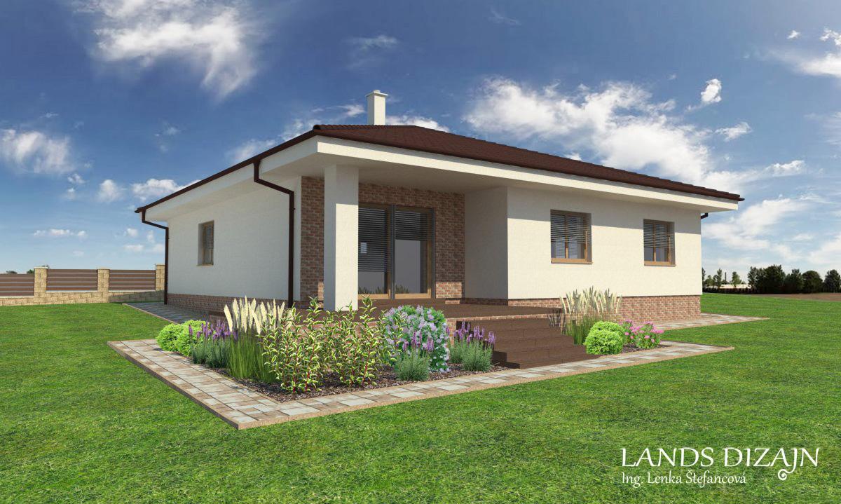 landsdizajn - Návrh fasády bungalovu so zvýšenou terasou.