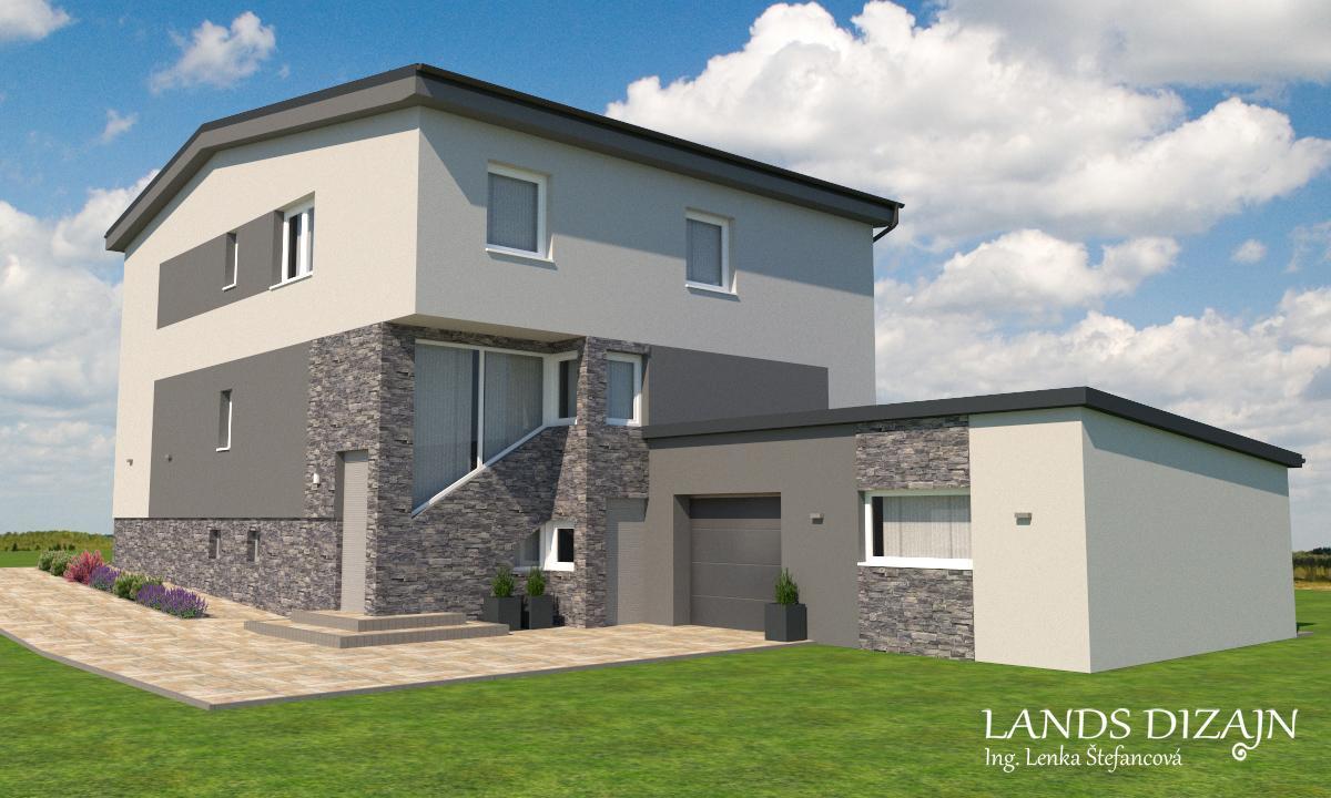 Návrh fasády dvojposchodového rodinného domu - Obrázok č. 1