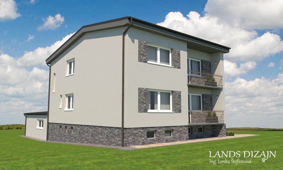 Návrh fasády dvojposchodového rodinného domu - Obrázok č. 3