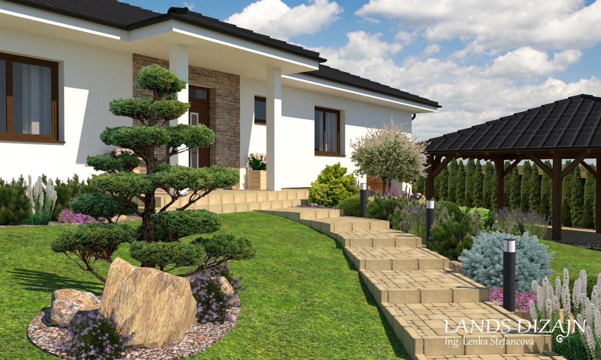 landsdizajn - Návrh prednej záhrady s okrasnou borovicou