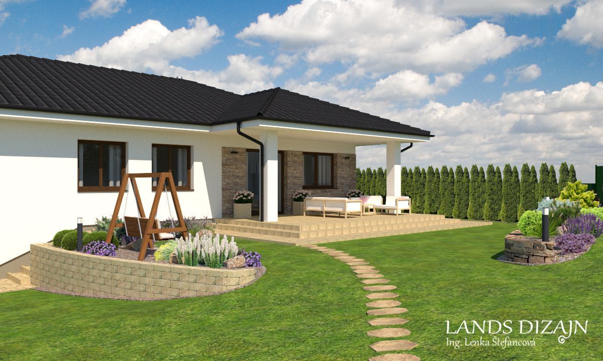 landsdizajn - Návrh fasády s terasou a záhradou