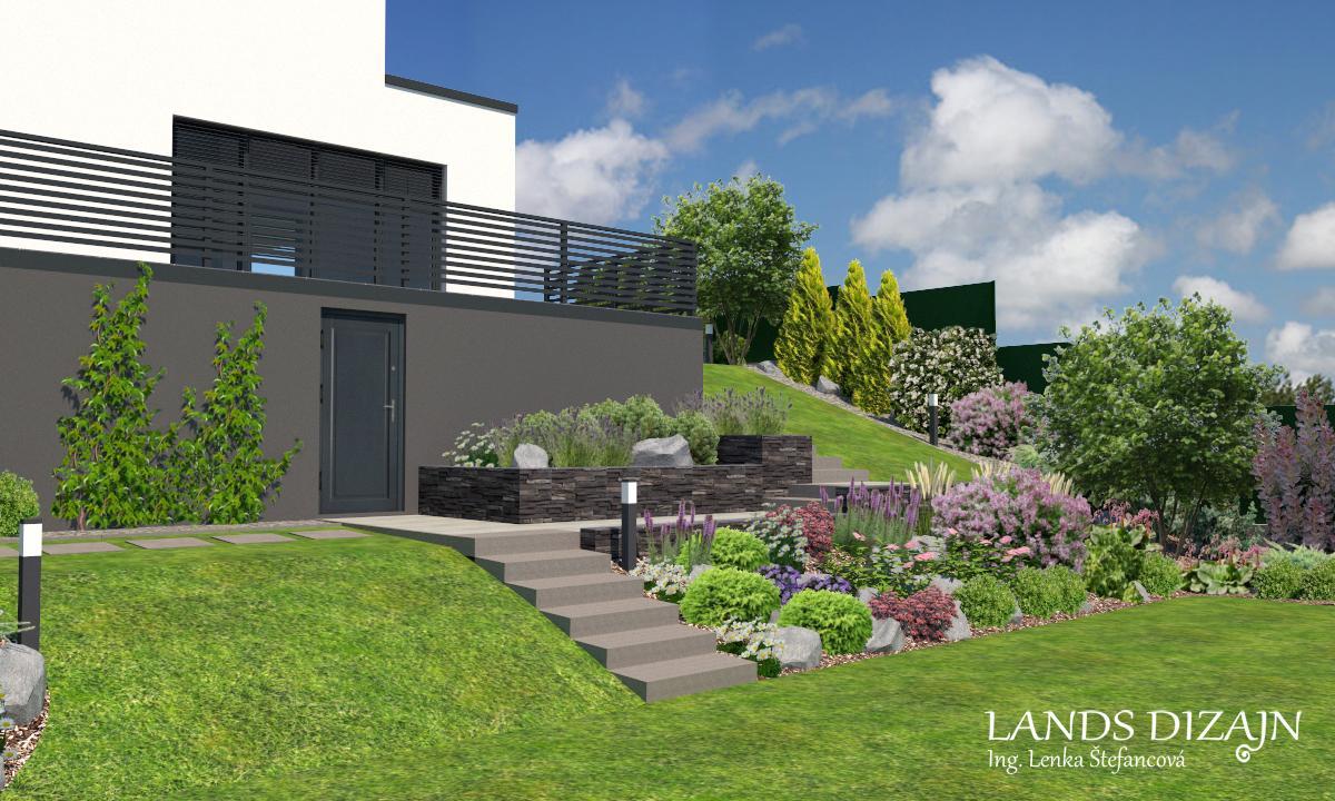 landsdizajn - Návrh fasády so skalkou vo svahu