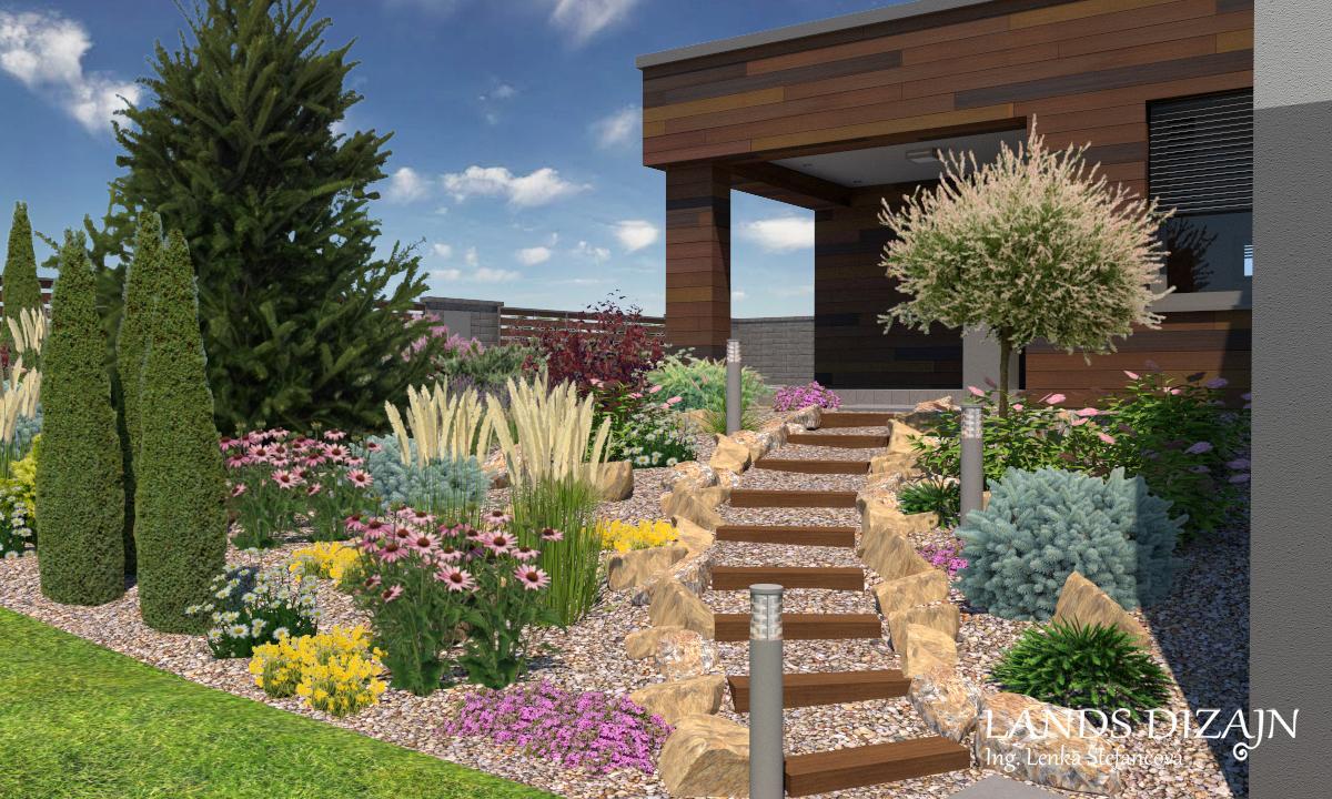 landsdizajn - Riešenie svahu pomocou výsadby s drevenými schodmi