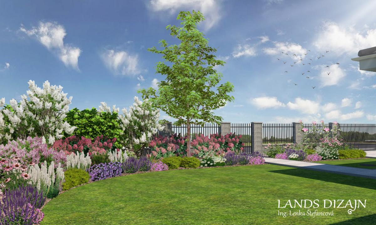 Vizuálny návrh záhrady s pestrými záhonmi kvitnúcich krov a trvaliek - Obrázok č. 2