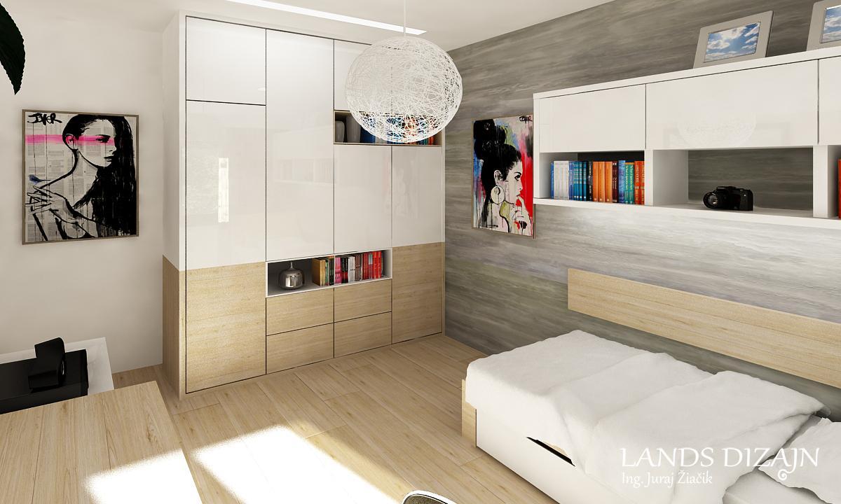 Návrh študentskej izby - Nábytok na mieru v kombinácii bielej lesklej a svetlého dubu