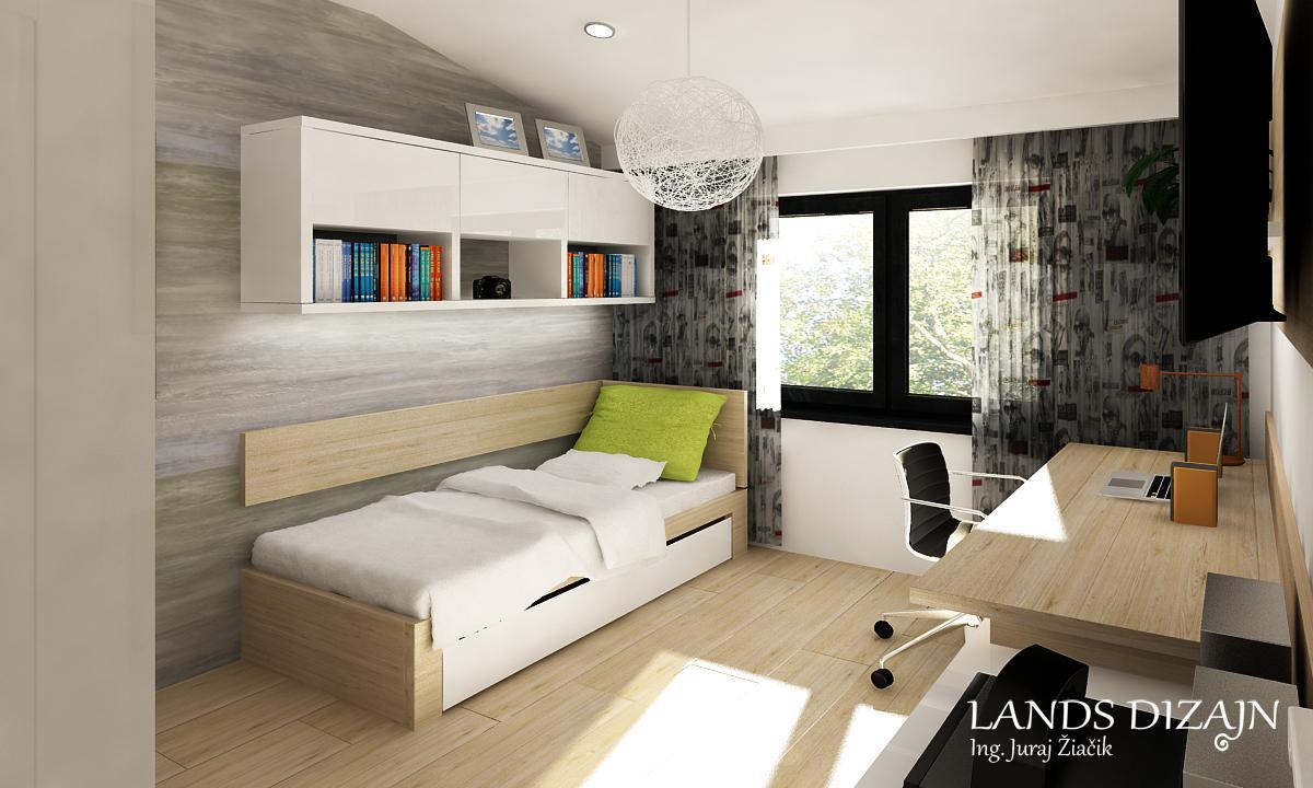 Návrh študentskej izby - Na stene pri posteli je použitá sivá tapeta aj z praktických dôvodov