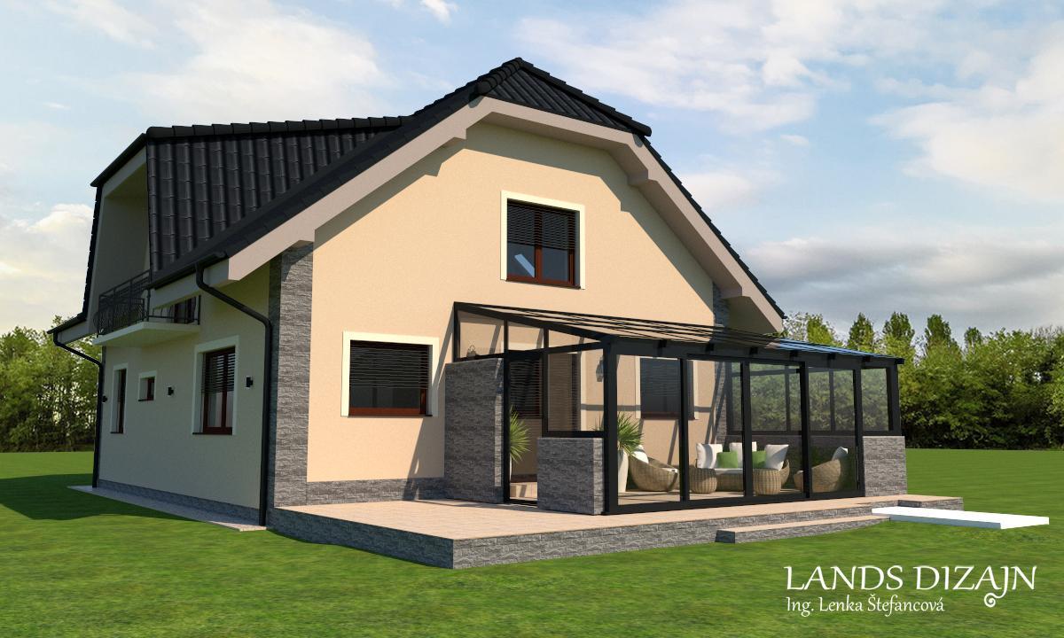 Návrh elegantnej fasády domu so zimnou záhradou - Priestranná terasa so zimnou záhradou