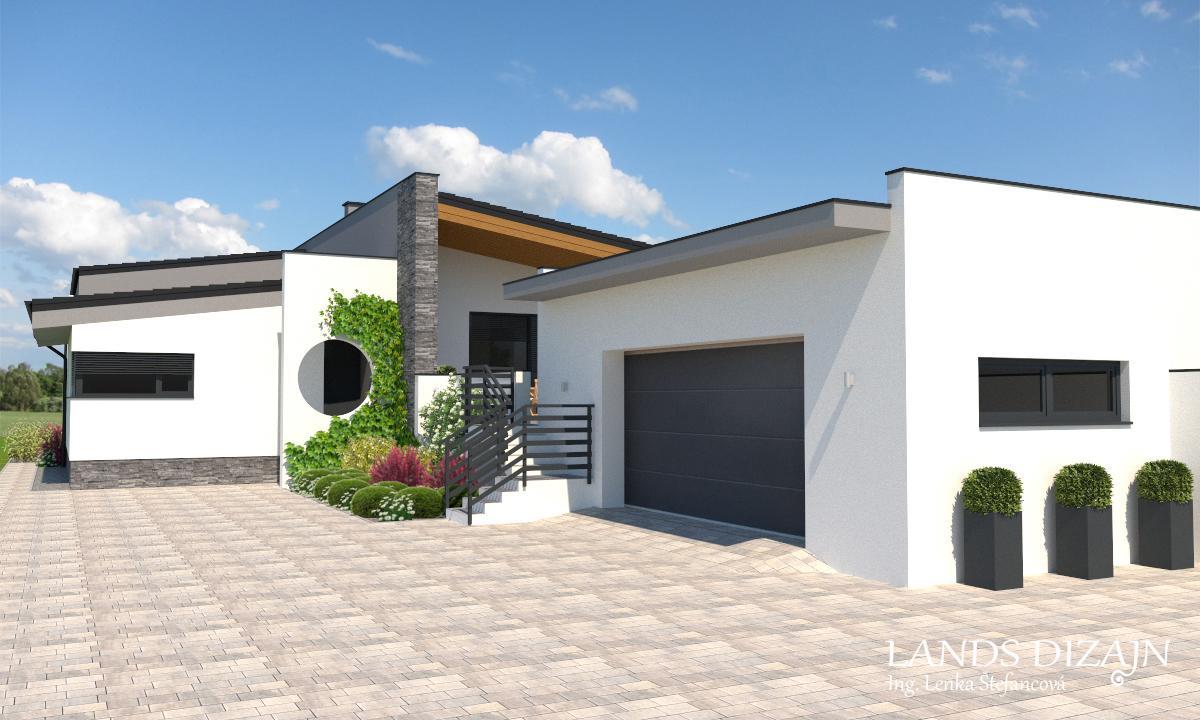 Návrh fasády rodinného domu s garážou v minimalistickom štýle - Obrázok č. 1