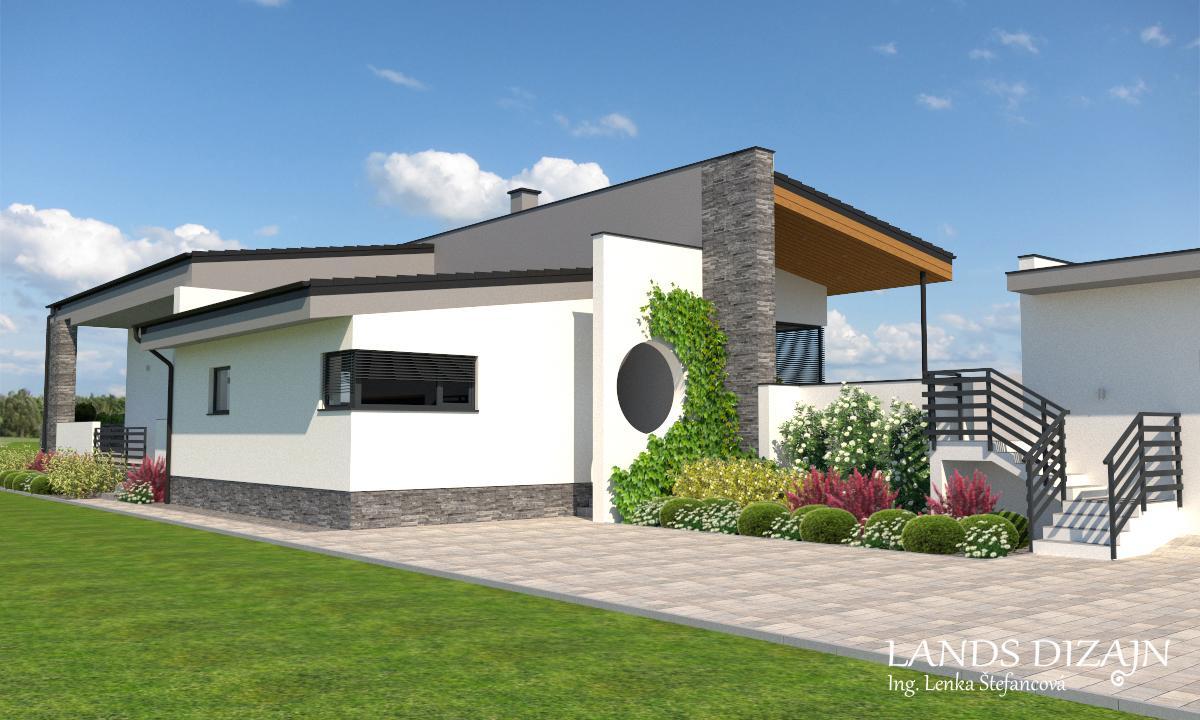 Návrh fasády rodinného domu s garážou v minimalistickom štýle - Obrázok č. 2