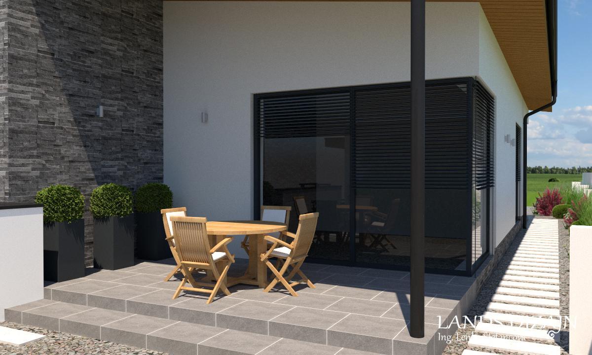 Návrh fasády rodinného domu s garážou v minimalistickom štýle - Obrázok č. 3