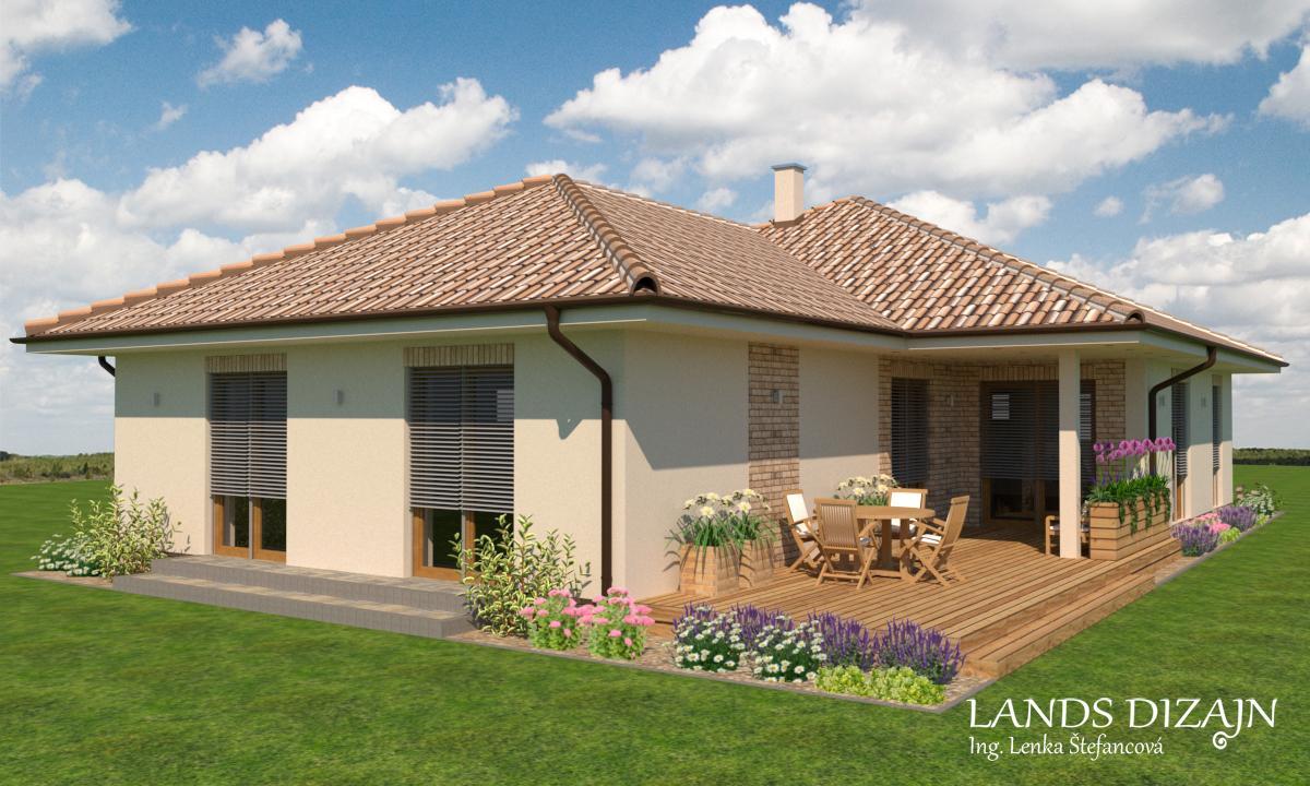 Návrh fasády bungalovu so svetlou omietkou a tehlovým obkladom - Obrázok č. 1