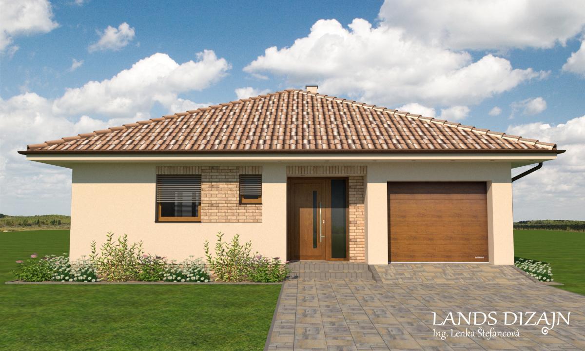 Návrh fasády bungalovu so svetlou omietkou a tehlovým obkladom - Obrázok č. 2