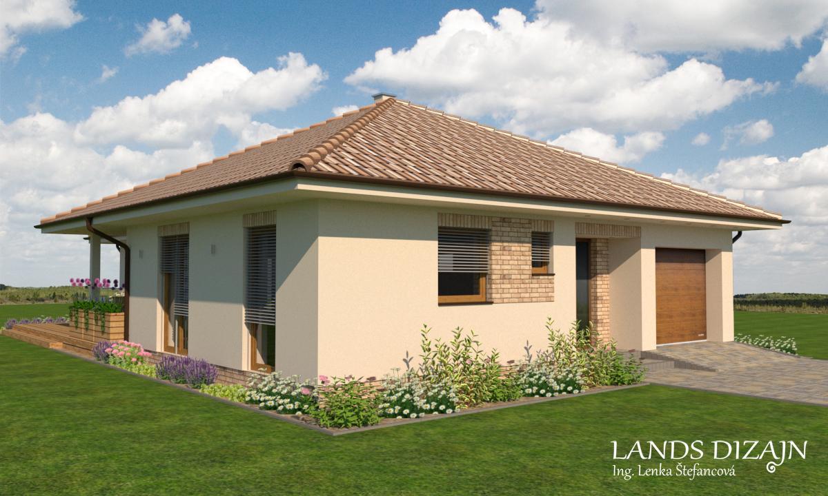 Návrh fasády bungalovu so svetlou omietkou a tehlovým obkladom - Obrázok č. 3