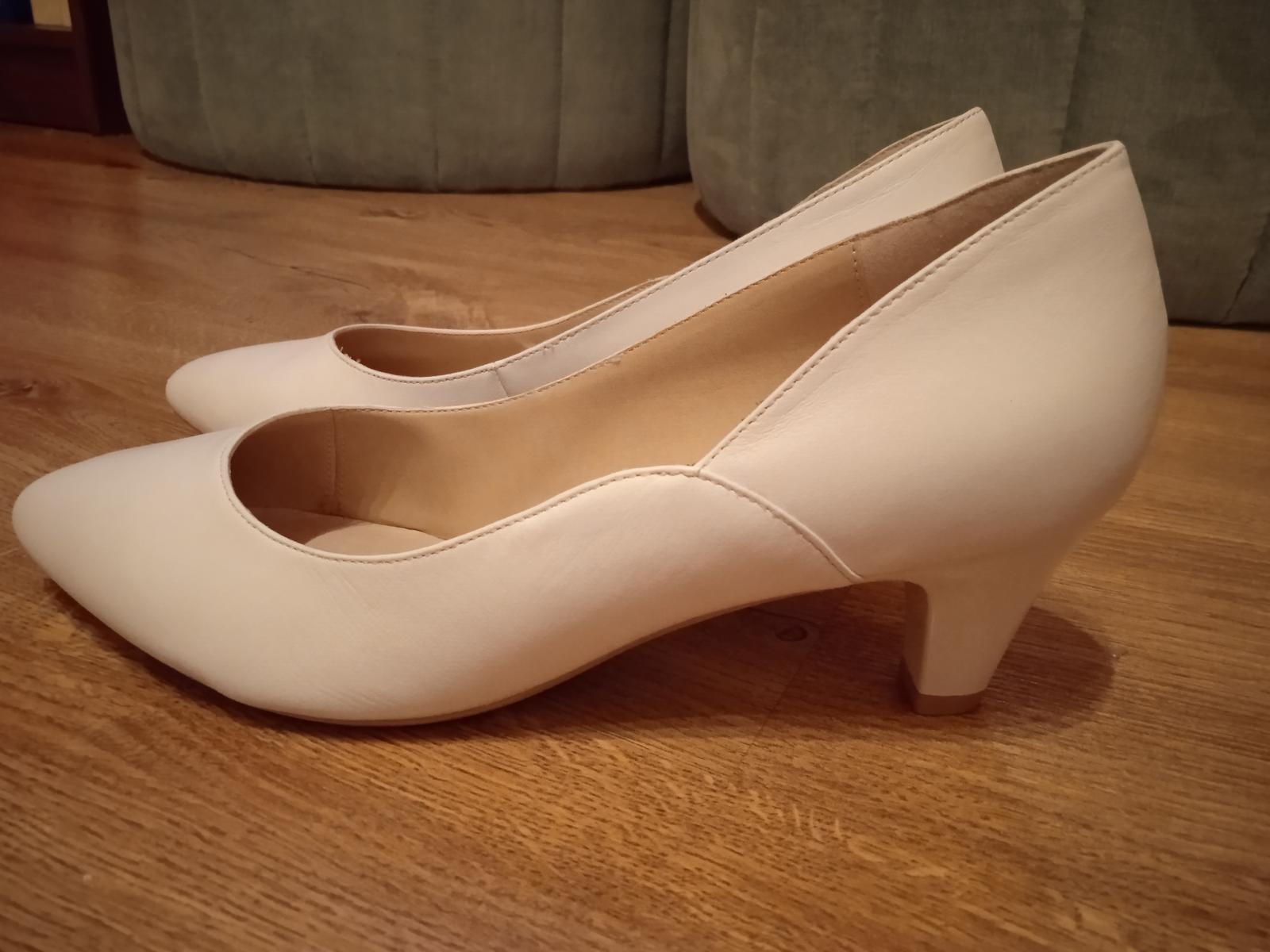 Nové bílé svatební boty Caprice s podpatkem 5,5 cm, vel.39, kvalitní - Obrázek č. 1