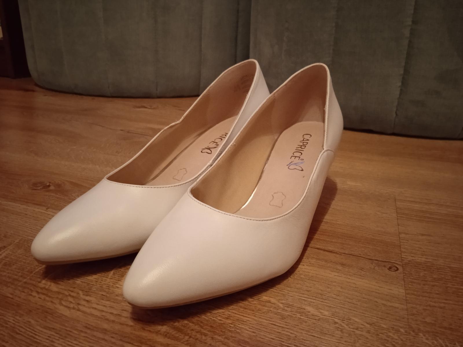 Nové bílé svatební boty Caprice s podpatkem 5,5 cm, vel.39, kvalitní - Obrázek č. 2