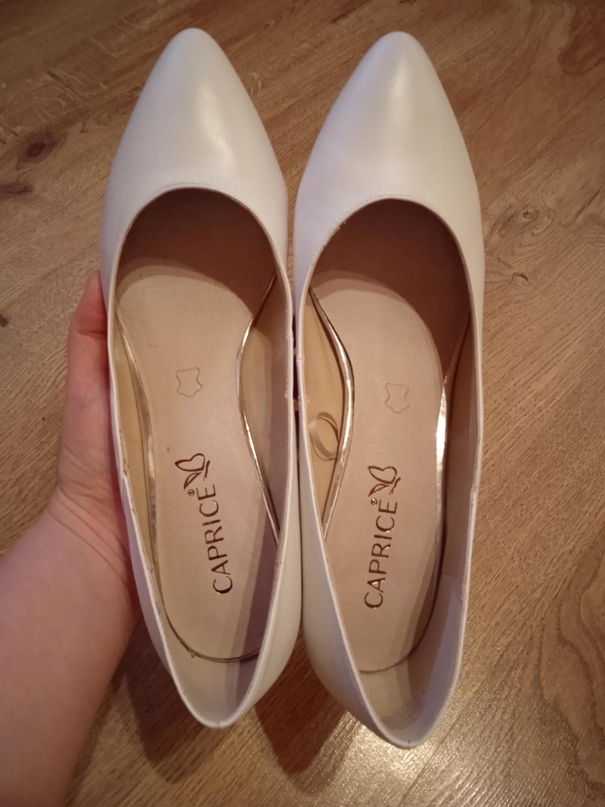 Nové bílé svatební boty Caprice s podpatkem 5,5 cm, vel.39, kvalitní - Obrázek č. 3