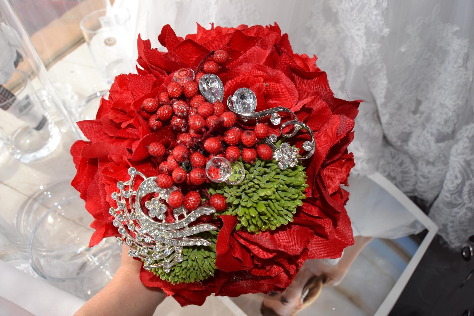 Látkové umělé svatební kytice-info - Obrázek č. 4