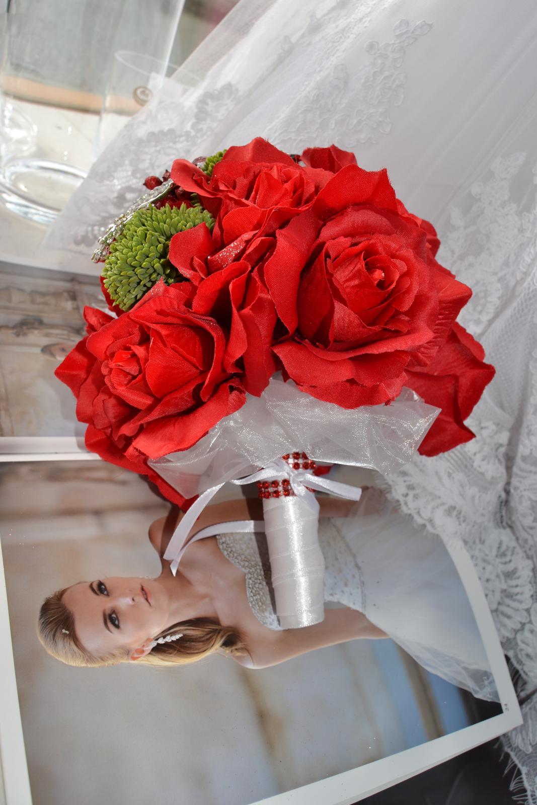 Látkové umělé svatební kytice-info - Obrázek č. 5