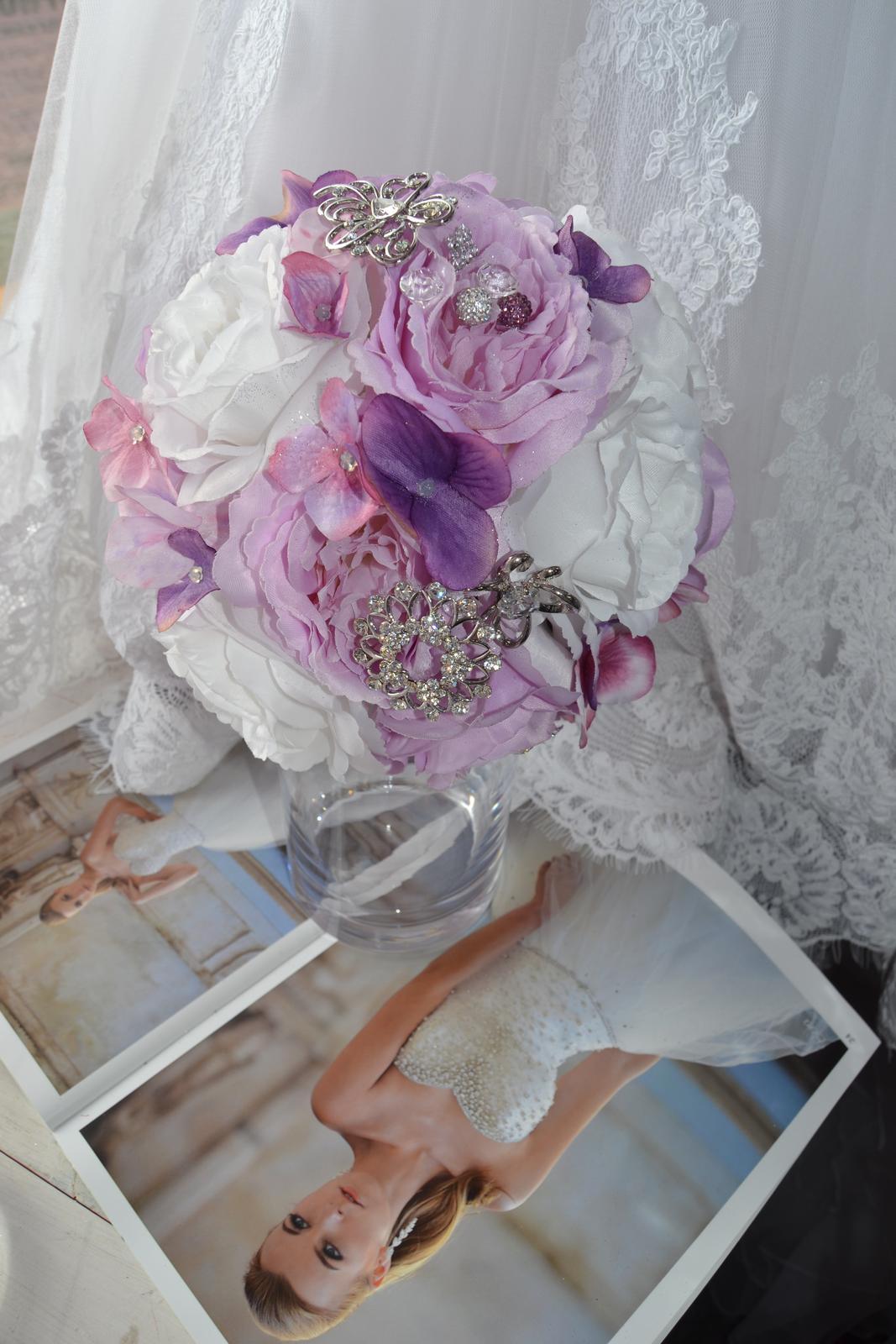 Látkové umělé svatební kytice-info - Obrázek č. 6