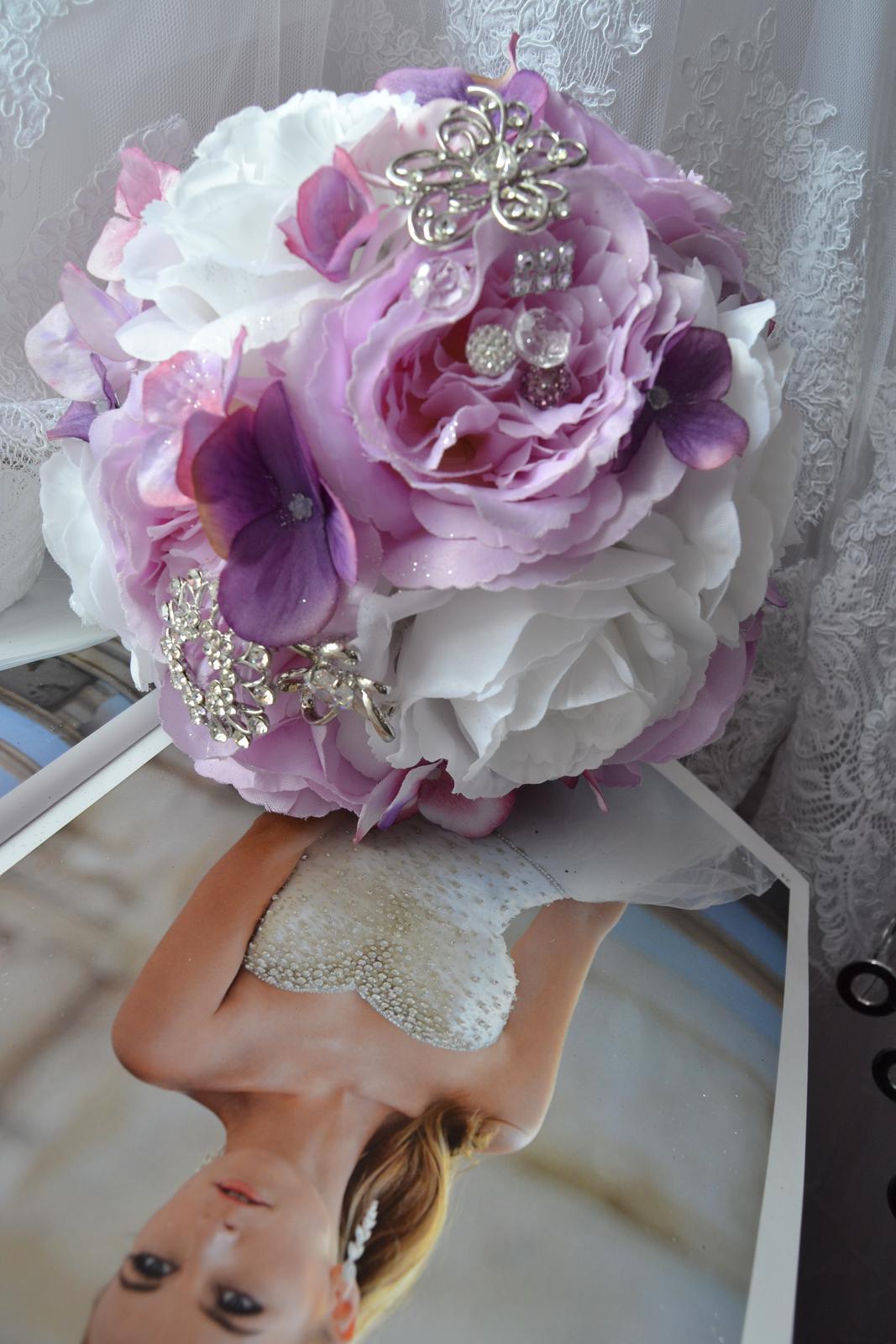 Látkové umělé svatební kytice-info - Obrázek č. 7
