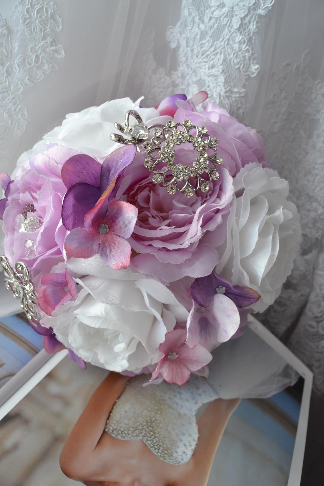 Látkové umělé svatební kytice-info - Obrázek č. 9