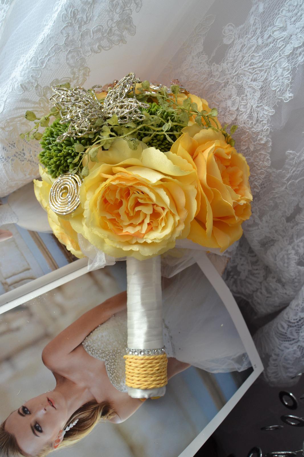 Látkové umělé svatební kytice-info - Obrázek č. 10