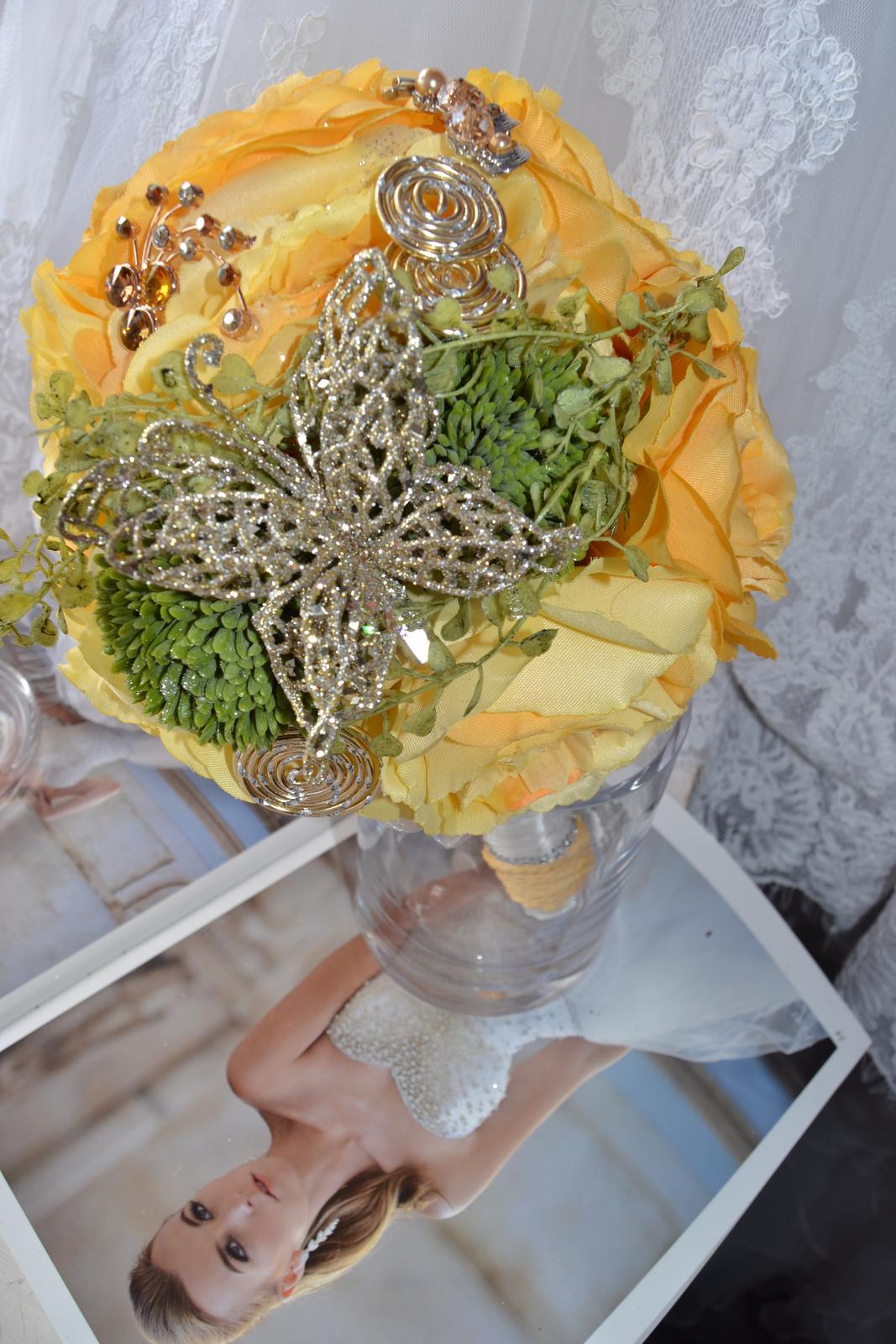 Látkové umělé svatební kytice-info - Obrázek č. 11