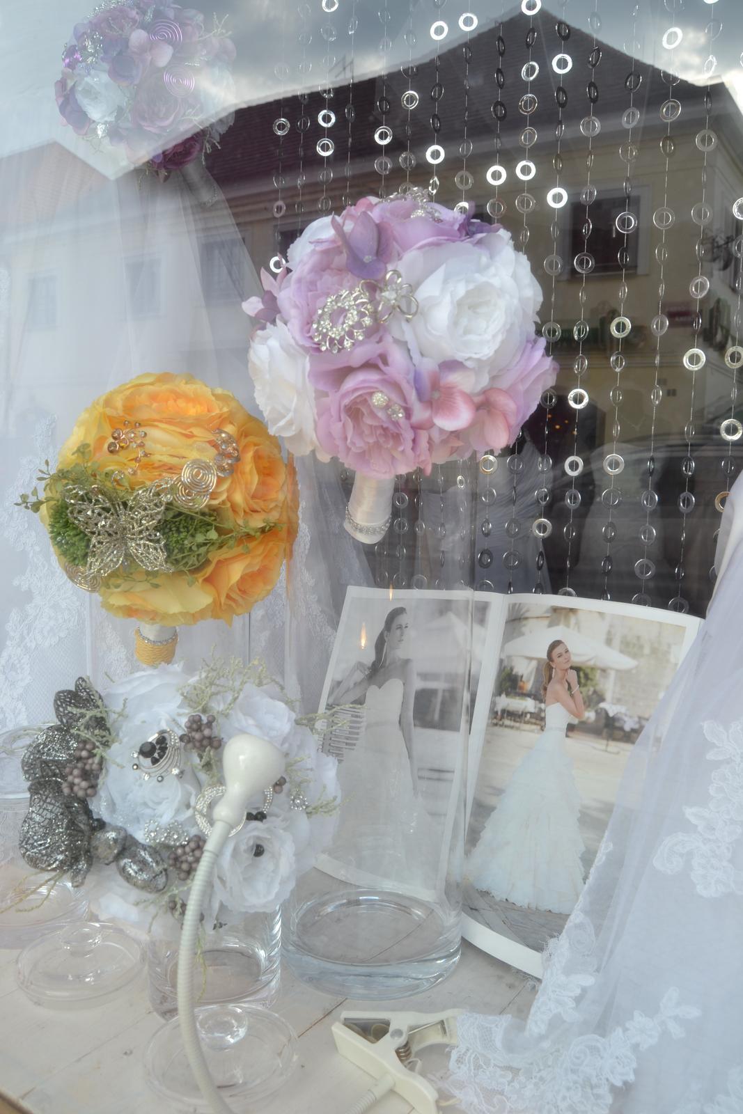 Látkové umělé svatební kytice-info - Obrázek č. 17